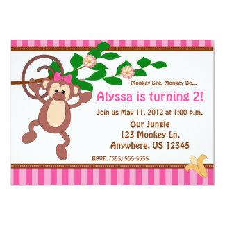 Fun Monkey Girls Personalized Birthday Inviation Card