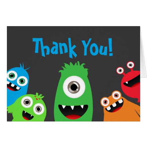 Fun Monster Bash Thank You Notes Zazzle