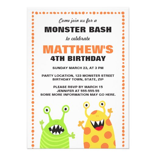 "Fun monster birthday party invitation for kids 4.5"" x 6.25 ..."