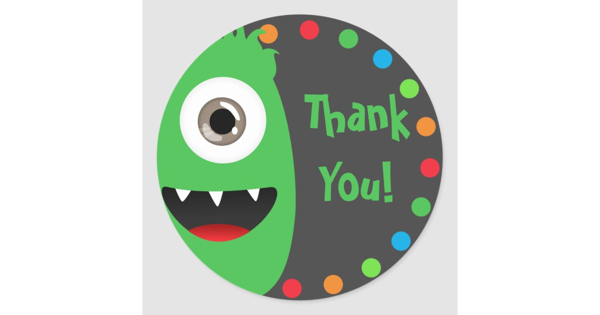 Fun Monster Thank You Stickers | Zazzle