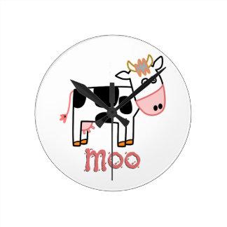 FUN MOO COW ROUND CLOCK