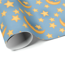 Fun moon and stars wrapping paper