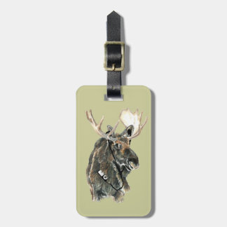Fun Moose with Headphones Bag Tags