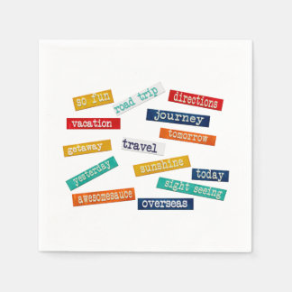 Fun Motivational Vacation Travel Words Napkin