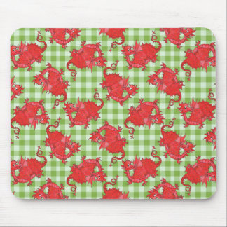 Fun Mousepad: Cute Red Dragon on Green Gingham Mouse Pad