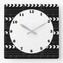 Fun Movie clapboard pattern theater clock