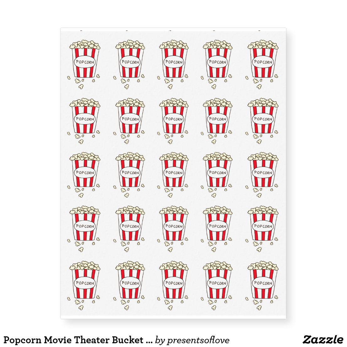 Fun Movie Theater Popcorn Birthday Party Favors Temporary Tattoos