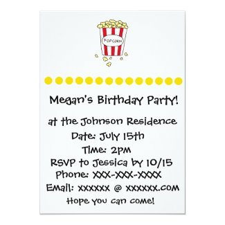 Fun Movie Theater Popcorn Birthday Party Invite