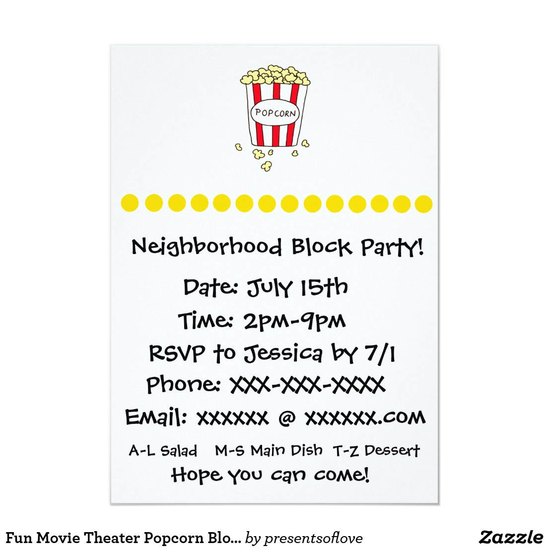 Fun Movie Theater Popcorn Block Party Invite
