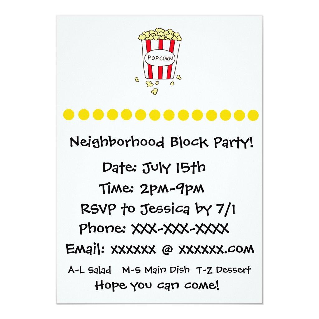 Fun Movie Theater Popcorn Block Party Invite