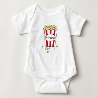 Fun Movie Theater Popcorn in Red White Bucket Baby Bodysuit