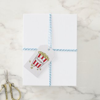 Fun Movie Theater Popcorn in Red White Bucket Gift Tags