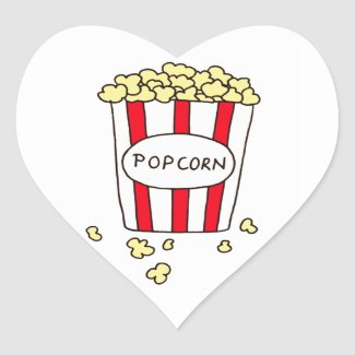 Fun Movie Theater Popcorn in Red White Bucket Heart Sticker