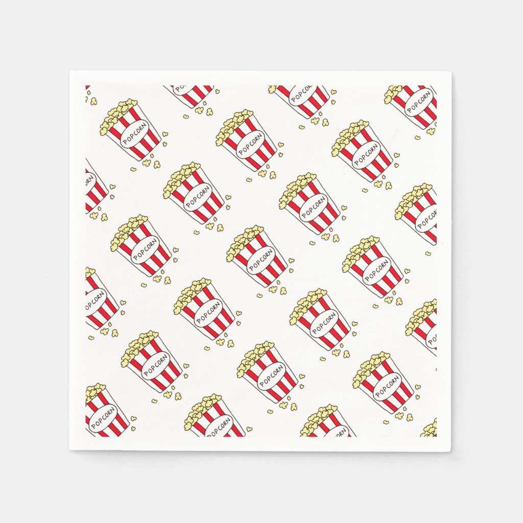 Fun Movie Theater Popcorn in Red White Bucket Napkin