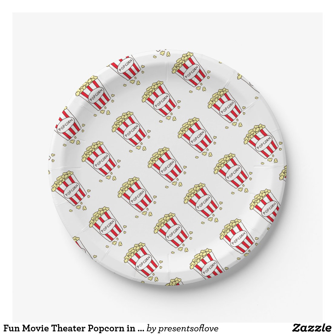 Fun Movie Theater Popcorn in Red White Bucket Paper Plate