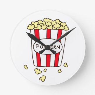 Fun Movie Theater Popcorn in Red White Bucket Round Clock