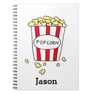 Fun Movie Theater Popcorn in Red White Bucket Spiral Notebook