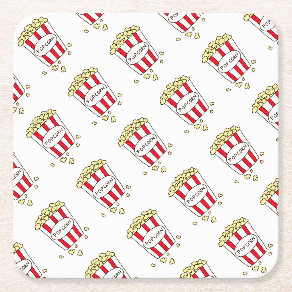 Fun Movie Theater Popcorn in Red White Bucket Square Paper Coaster