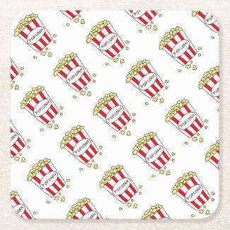 Fun Movie Theater Popcorn in Red White Bucket Square Paper Coaster