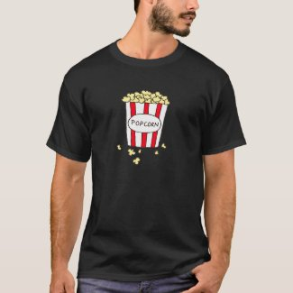 Fun Movie Theater Popcorn in Red White Bucket T-Shirt