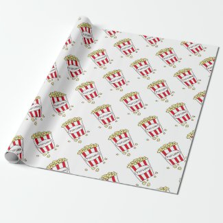 Fun Movie Theater Popcorn in Red White Bucket Wrapping Paper