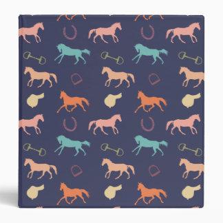 Fun Multicolor English Horse Pattern 3 Ring Binder