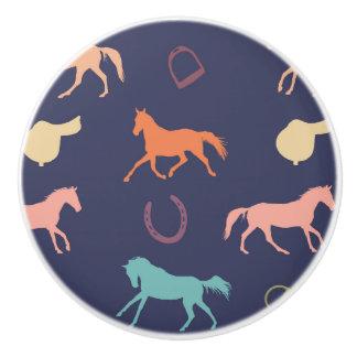 Fun Multicolor English Horse Pattern Ceramic Knob