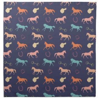 Fun Multicolor English Horse Pattern Cloth Napkin