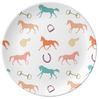 Fun Multicolor English Horse Pattern Dinner Plate