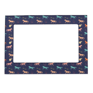 Fun Multicolor English Horse Pattern Magnetic Frame