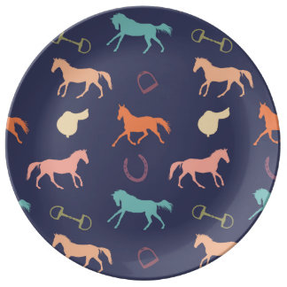 Fun Multicolor English Horse Pattern Plate