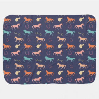 Fun Multicolor English Horse Pattern Receiving Blanket