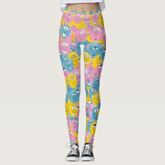 Fun Multicolored Emoji Design Leggings