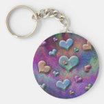Fun Multicolored Metallic Looking Hearts Art Keychain