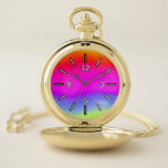 [ Thumbnail: Fun Multicolored Rainbow-Like Pattern Pocket Watch ]