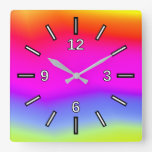 [ Thumbnail: Fun Multicolored Rainbow-Like Pattern Square Clock ]