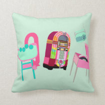 Fun Music Fifties Design Throw Pillow