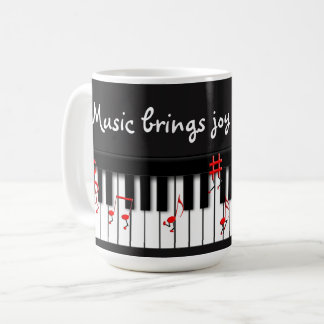 FUN MUSIC MUG WITH RED NOTES RUNNING DOWN KEYBOARD