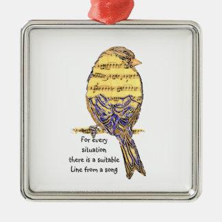 Fun Music Quote Life Song Lyrics with Bird Christmas Ornament