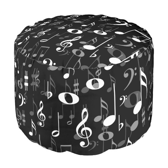 Fun Musical Notes and Symbols Random Pattern Pouf