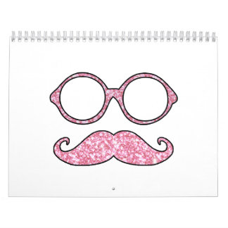 FUN MUSTACHE AND GLASSES, PRINTED PINK GLITTER CALENDAR
