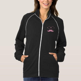 FUN MUSTACHE AND GLASSES, PRINTED PINK GLITTER JACKET