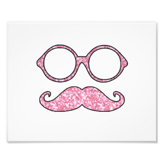 FUN MUSTACHE AND GLASSES, PRINTED PINK GLITTER PHOTOGRAPHIC PRINT