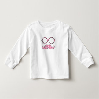 FUN MUSTACHE AND GLASSES, PRINTED PINK GLITTER TODDLER T-SHIRT