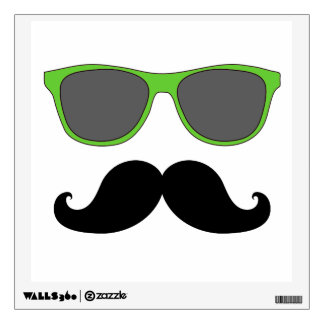 FUN MUSTACHE  AND GREEN SUNGLASSES WALL DECAL