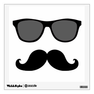 FUN MUSTACHE AND SUNGLASSES WALL DECAL