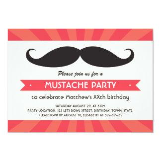 Fun mustache birthday party 5x7 paper invitation card