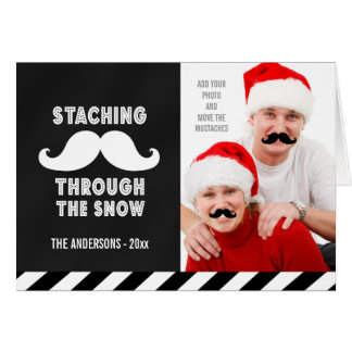 FUN MUSTACHE PHOTO HOLIDAY GREETINGS CARD