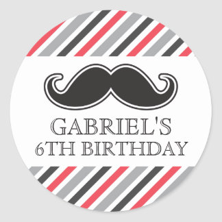 Fun mustache with red gray stripes birthday party classic round sticker