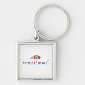 Fun Myrtle Beach, SC Silver-Colored Square Keychain
